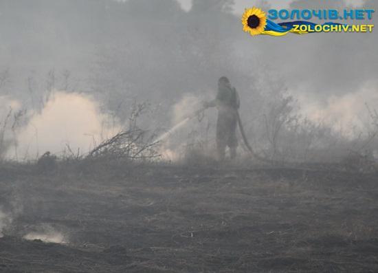 У селі Княже горять торфовища, а поруч горить поле з-під кукурудзи (відео)