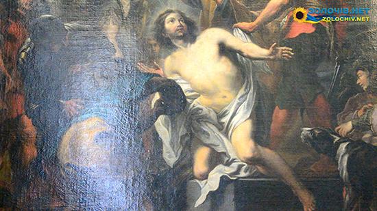 Картина «Мучеництво св. Юрія»  у експозиції Великого палацу Золочівського замку