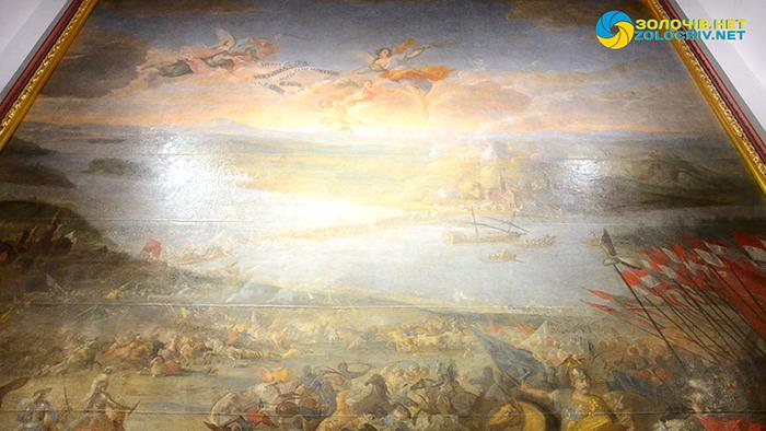 """Найцінніший експонат у Великому палаці Золочівського замку – картина Мартіно Альтомонте """"Битва під Парканами"""""""
