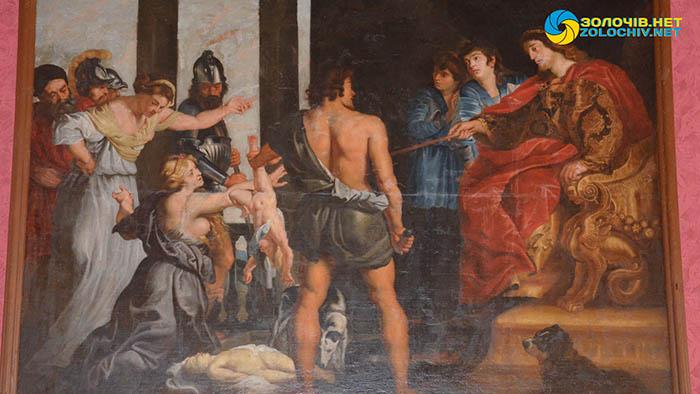 Картина «Суд Соломона» в експозиції великого палацу Золочівського замку