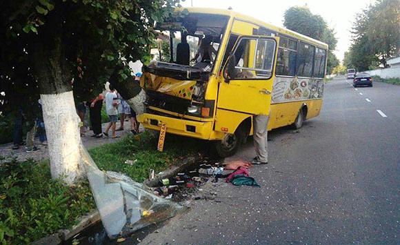 На Львівщині внаслідок зіткнення маршрутки з деревом травмовано дев'ять пасажирів