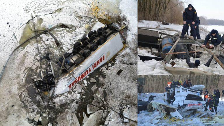 Смертельна ДТП на Чернігівщині: вантажівка впала з майже 20-метрової висоти у річку Десна