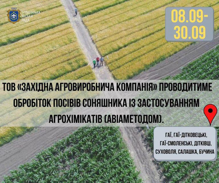 Проводитиметься обробіток посівів соняшника: перелік сіл